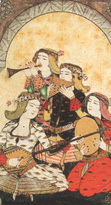 Musicians in the harem.  Levni's miniature from the 17th century